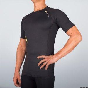 short sleeve top Black yellow