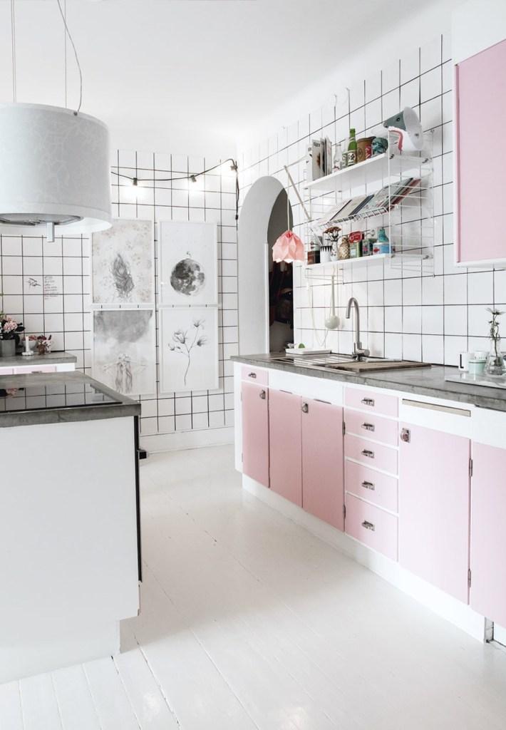 różowa kuchnia