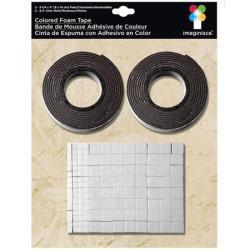 Двостороння об'ємна стрічка та квадратики, чорна, 003675