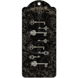Металеві прикраси Shabby Chic Ornate Metal Keys, Graphic 45, 4500839