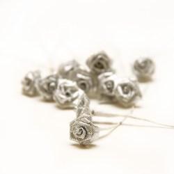 Букет троянд Ribbon Rose Silver Iridescent, 12 шт, B1154SI