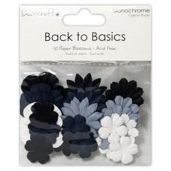 Набір квітів Back to Basics Monochrome Blossoms, Dovecraft, DCBL010