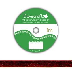 Рулон стрічки Dovecraft Christmas Ribbon, metallic, 1м, DCCR003