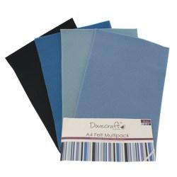 Набір фетру – Blues, формат A4, 8 листів, Dovecraft, DCFL019