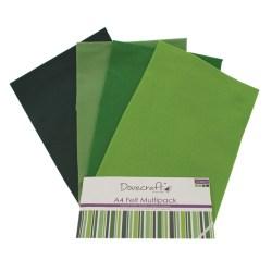 Набір фетру – Greens, формат A4, 8 листів, Dovecraft, DCFL020