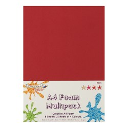 Вспінена гума декоративна Red Multiple Pack, A4, Dovecraft, DCFM007