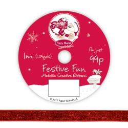 Рулон стрічки Fizzy Moon Festive Fun Ribbon, metallic, 1м, FZFFRB01