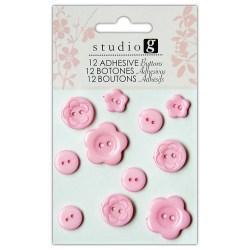 Ґудзики пластикові, рожеві, Hampton Art, VAC0403-3