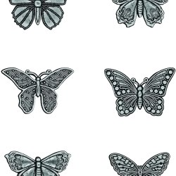 Металеві прикрасии Advantus Idea-Ology Metal Adornments 1″ 6/Pkg Butterflies, Tim Holtz, TH93689