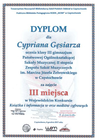 Dyplom Cyprian