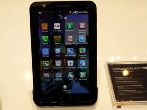 Tela de Apps do Galaxy Tab: tem Android Market e Samsung Apps pra baixar programas