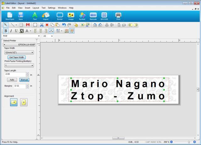Epson_LW600_label_editor_PC_exemplo