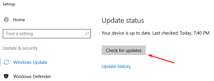 Checking for Windows Update