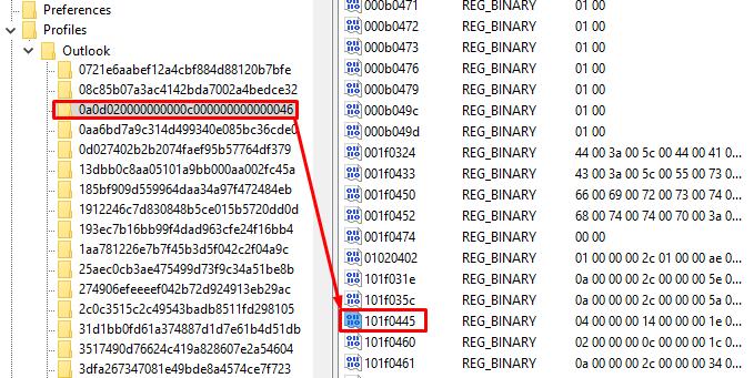 Delete the key 101f0445
