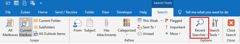 Outlook Recent Search History