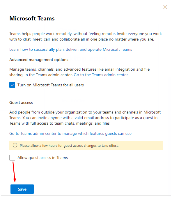 Disabling guest access in Microsoft Teams