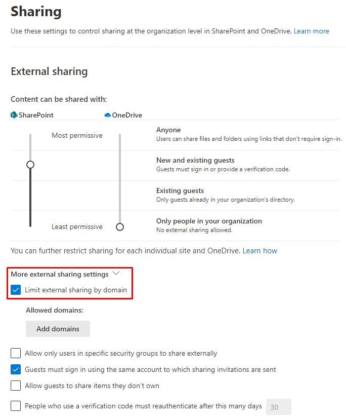 SharePoint external sharing settings