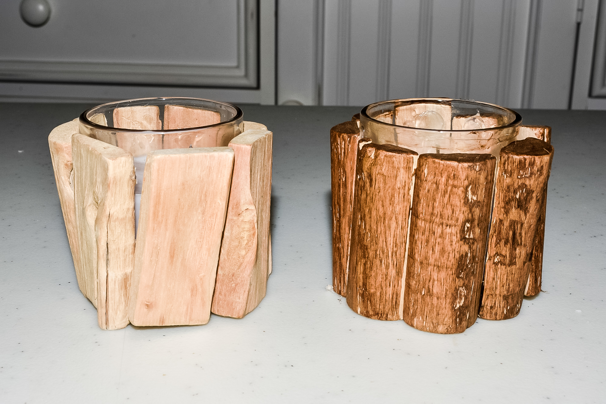 diy woodland candles with and without stain