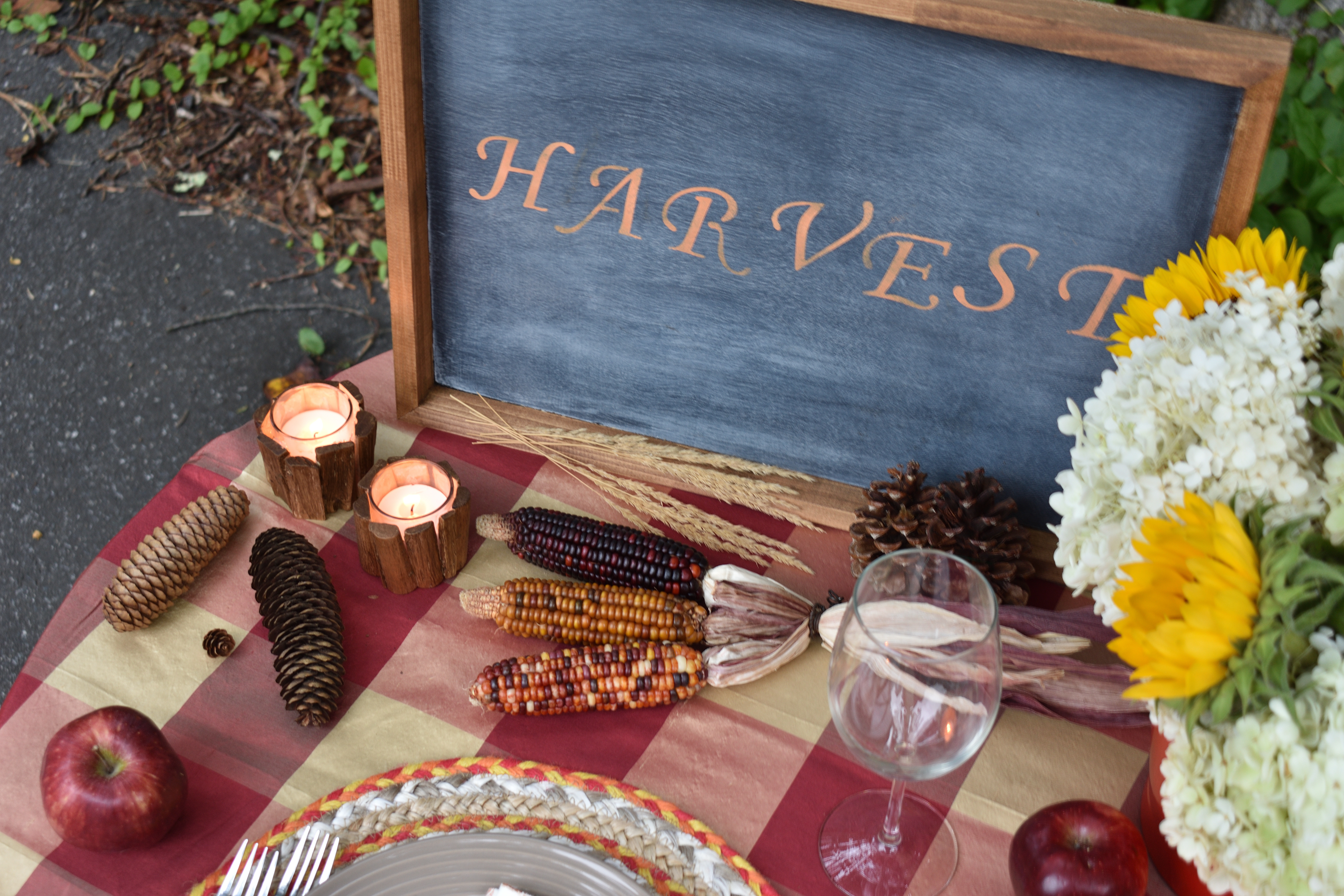 Fall Harvest outdoor tablescape for one