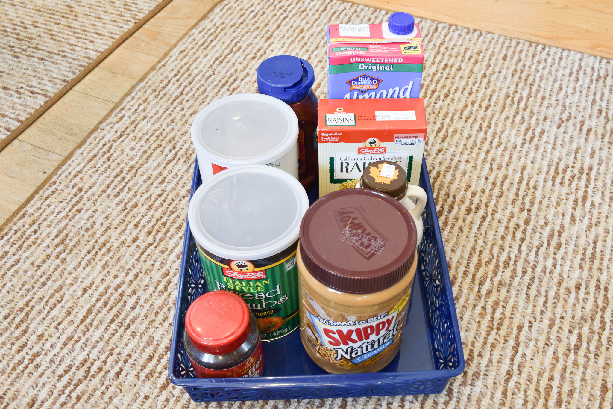 pantry items organized in a dollar tree container