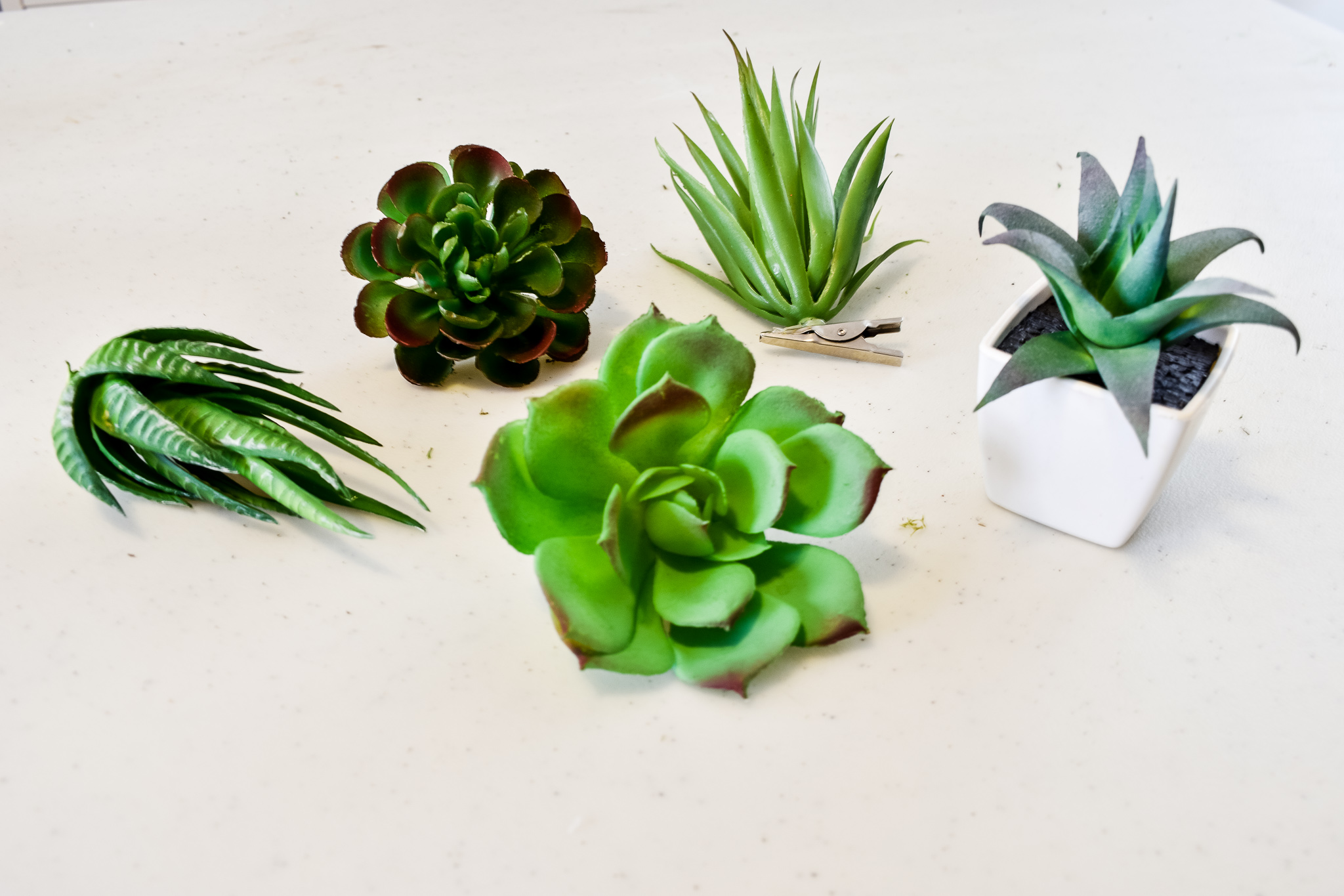 5 different Dollar Tree faux succulents