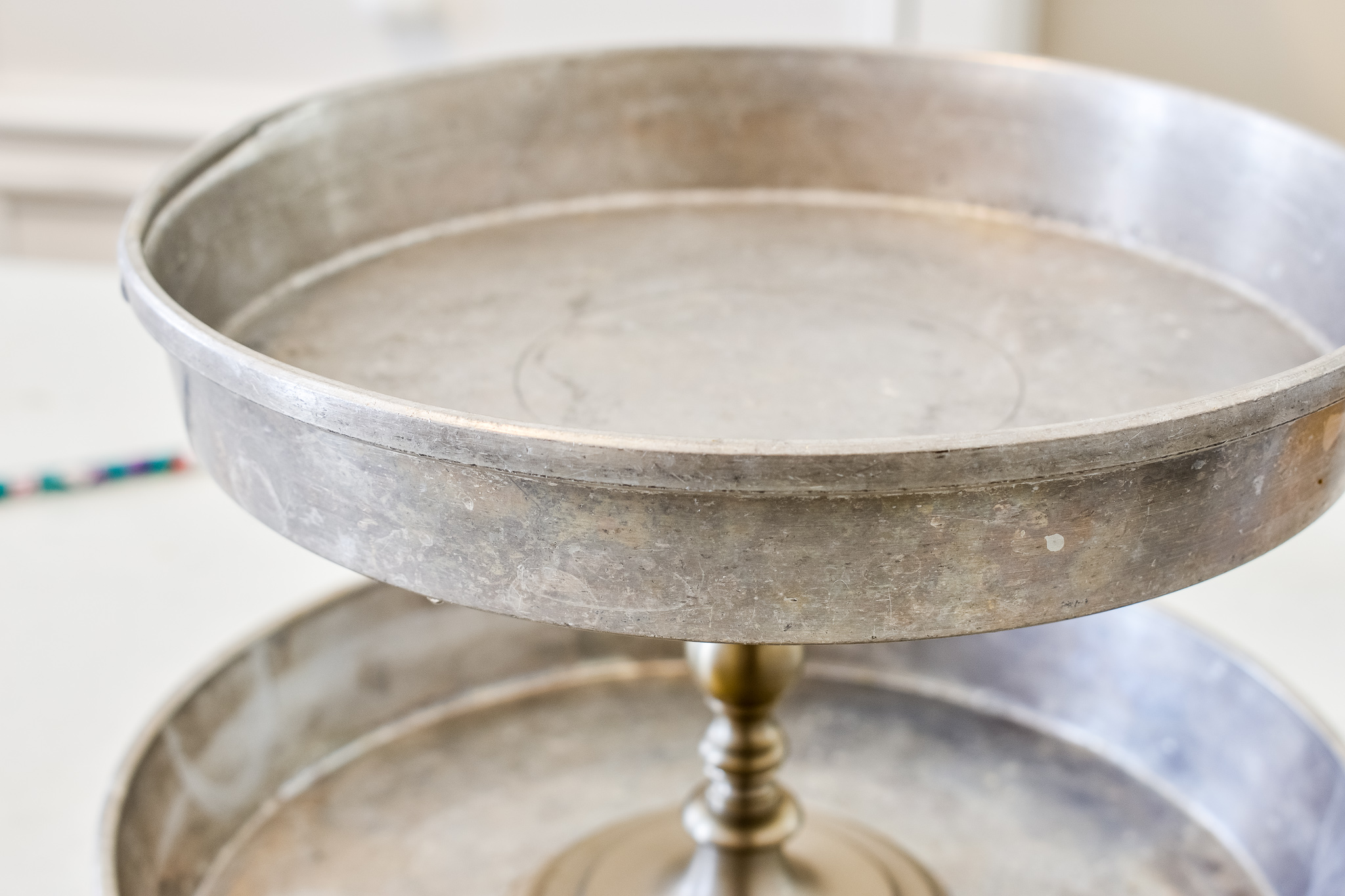 easy diy tiered tray from thrifted cake pans