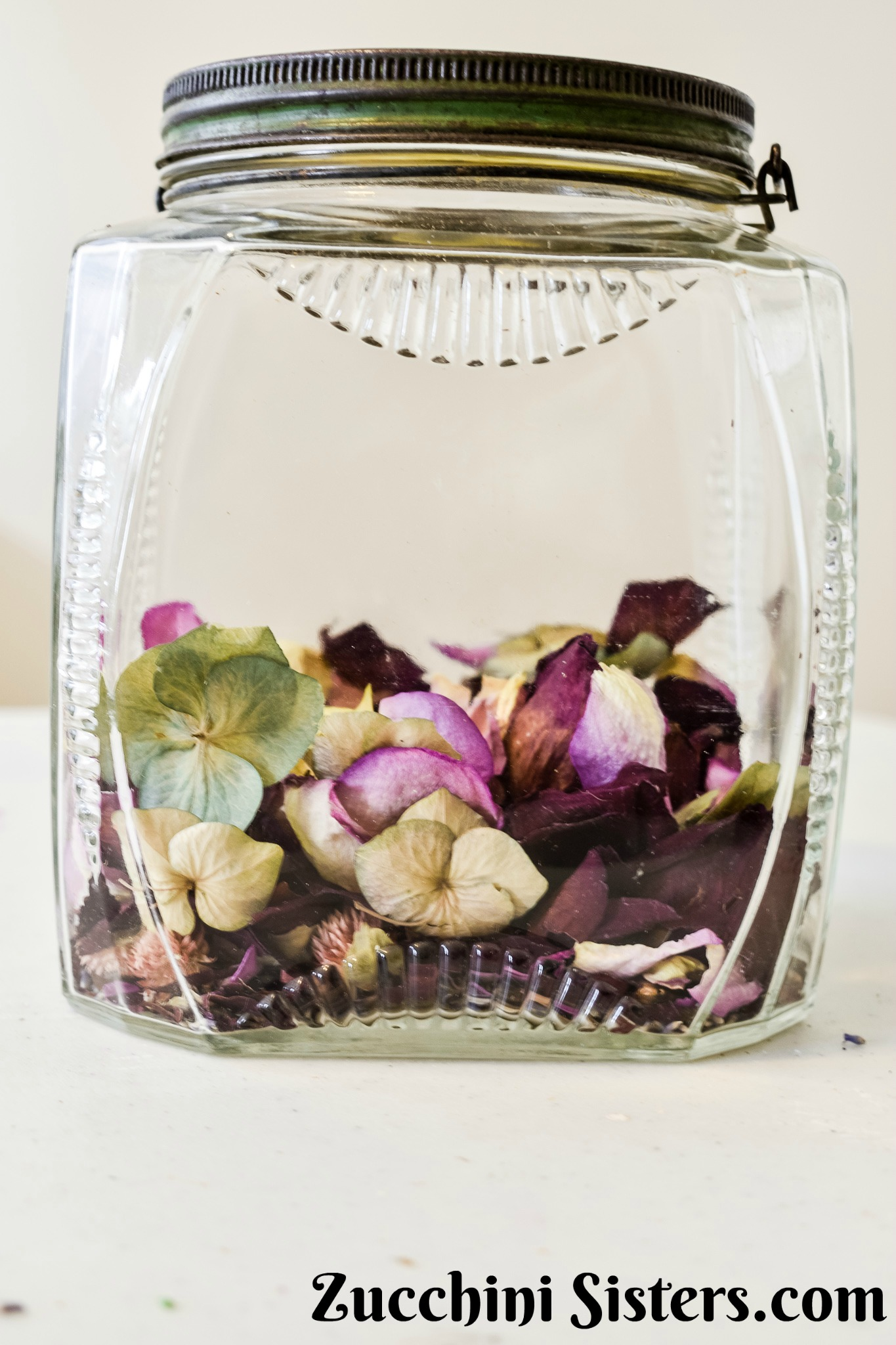Vintage glass rose petal jar