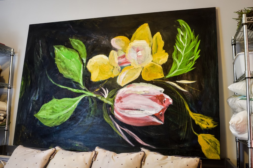large daffodil and tulip oil painting