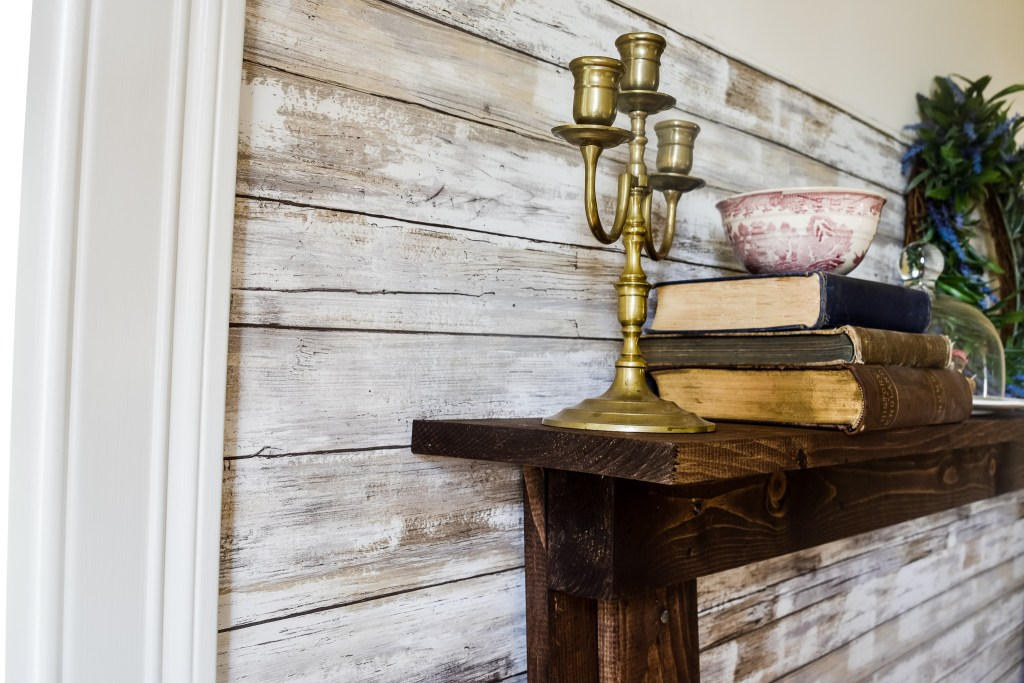 side view of DIY Faux Fireplace and Mantel