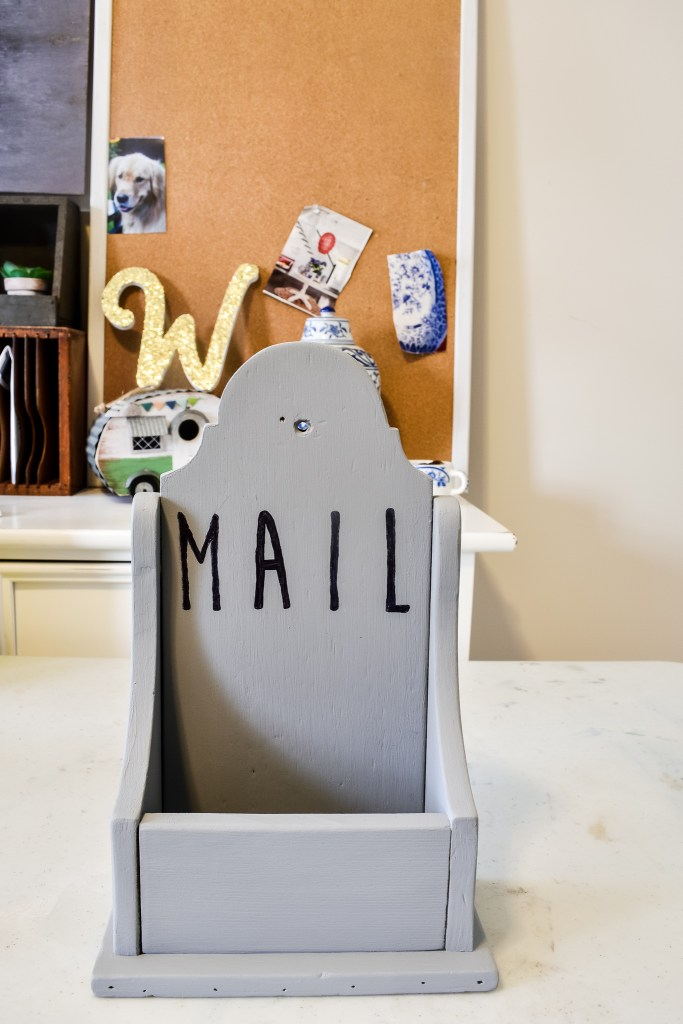 upcycled thrift store mail holder