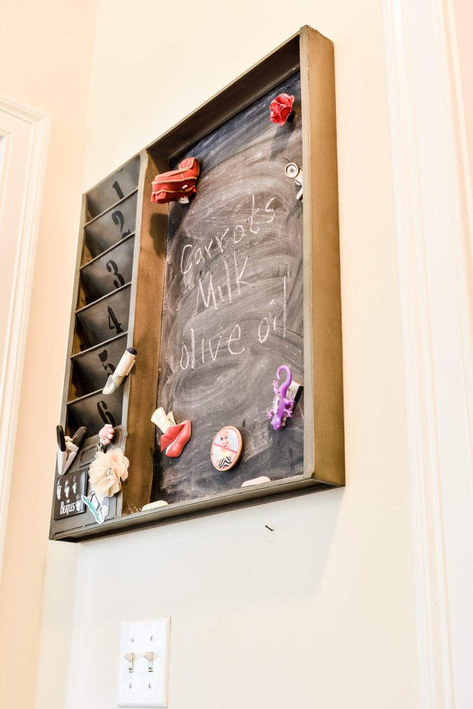 metal industrial style chalkboard and mail sorter