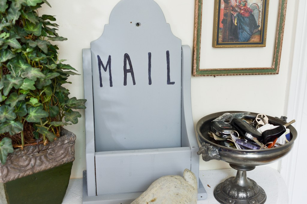 diy chalk painted and stenciled mail holder from a thrift store box