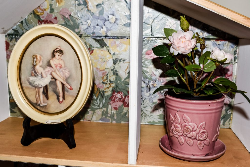 little girls ballet artwork and a faux potted rose