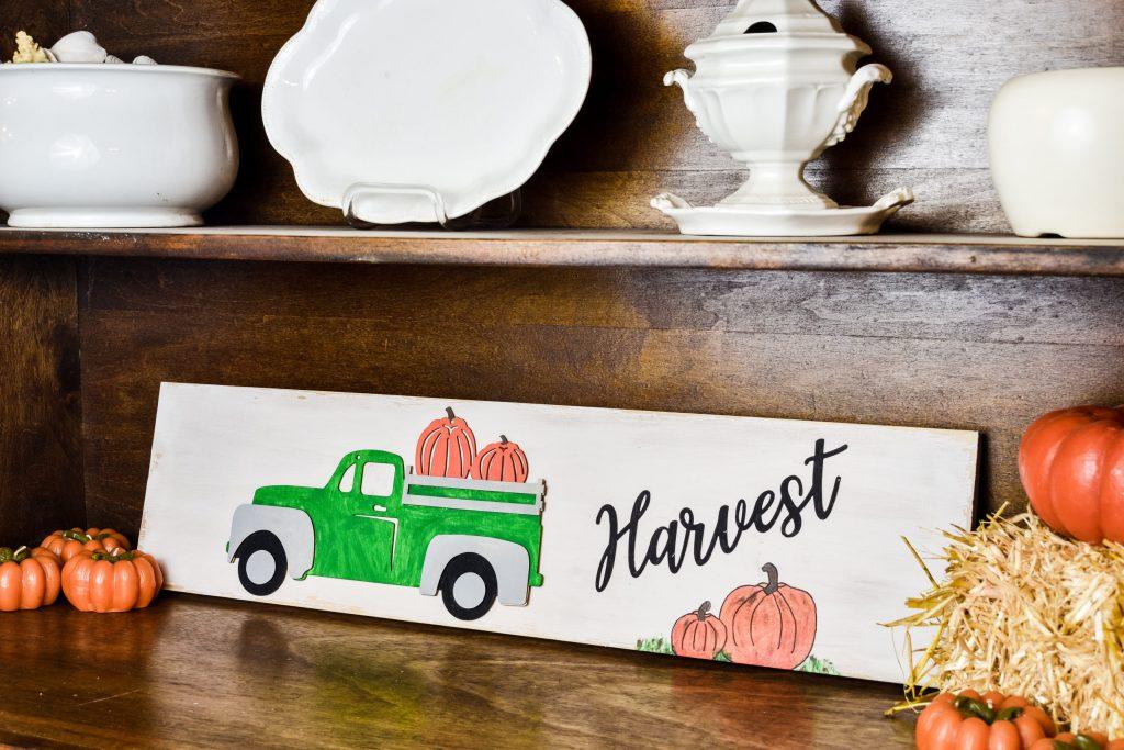 DIY Dollar Tree Pumpkin Truck Sign