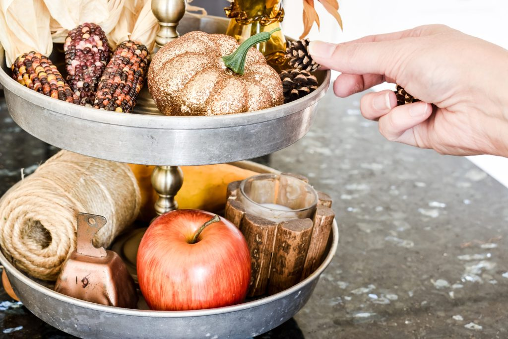 styling a Fall themed tiered tray