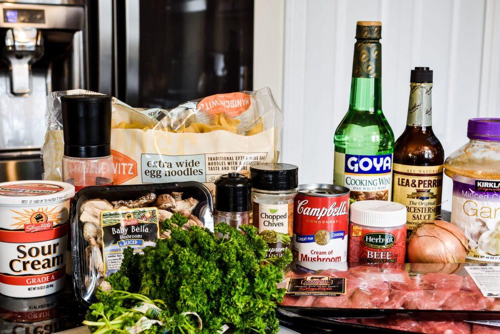 ingredients for easy crock pot beef stroganoff