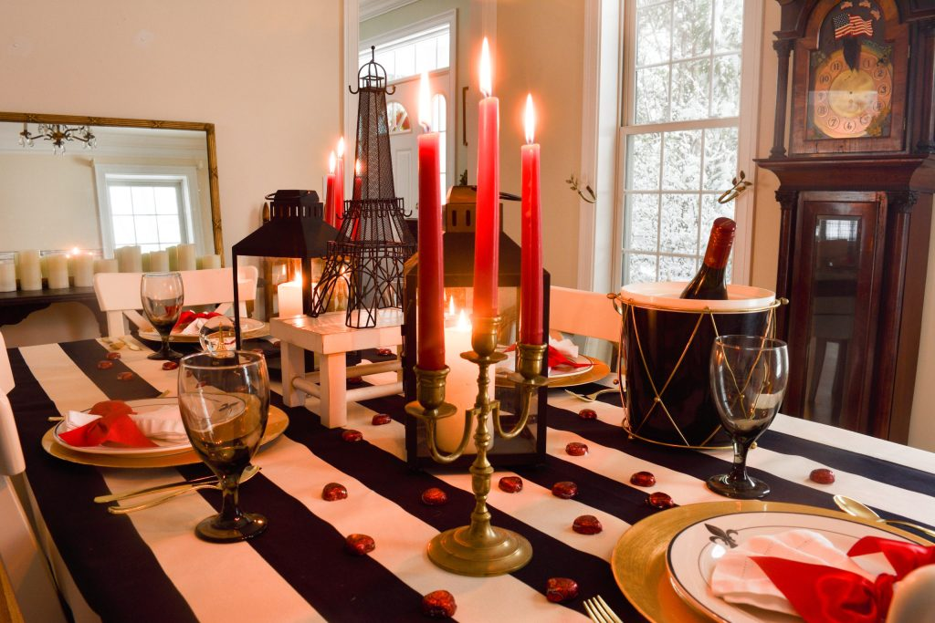 Valentine's Day in Paris Romantic Tablescape with the Eiffel Tower and black lanterns