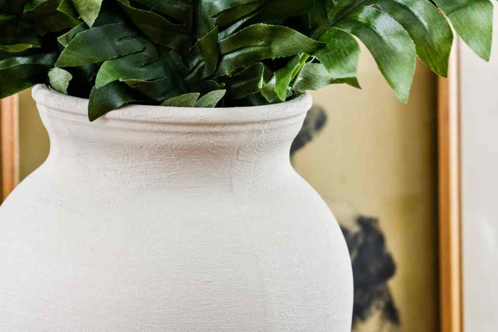neutral faux textured clay vase diy with ferns