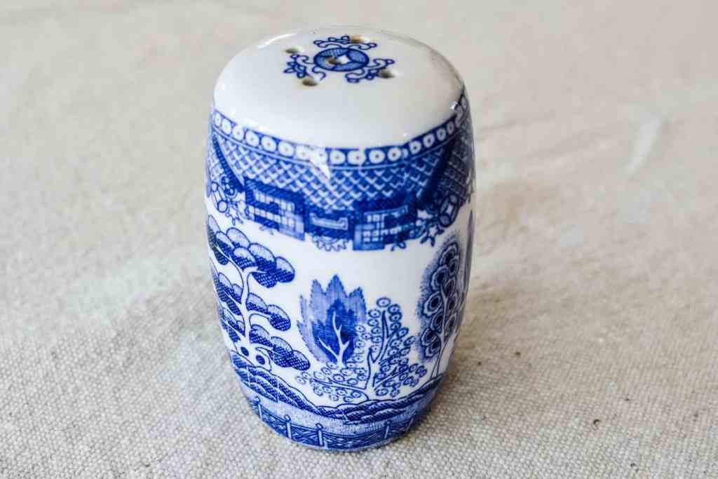 Blue Willow blue and white porcelain pepper shaker