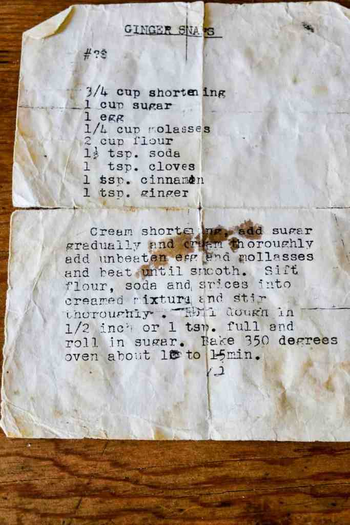 old and tattered typed ginger snap recipe