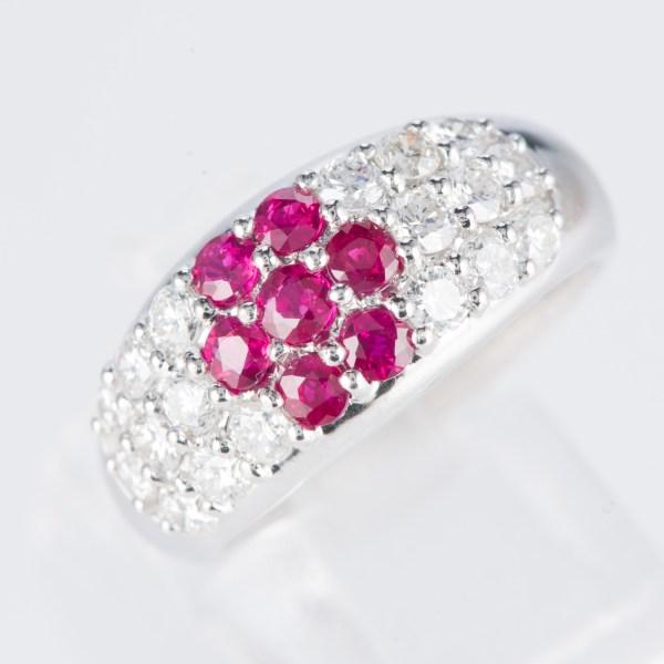 ルビーxダイヤモンド プラチナリング R: 0.78 ct D: 1ct Pt900 フラワー
