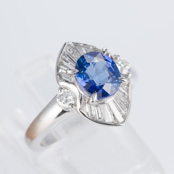 サファイアxダイヤモンド プラチナリング S: 1.4 ct D: 0.54ct Pt900
