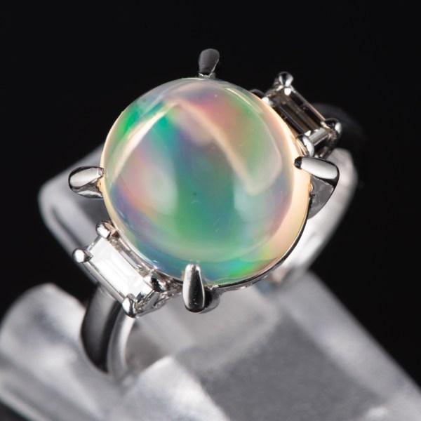 スリーストン メキシコオパールxダイヤモンド プラチナリング MO: 5.33 ct D: 0.31ct Pt900