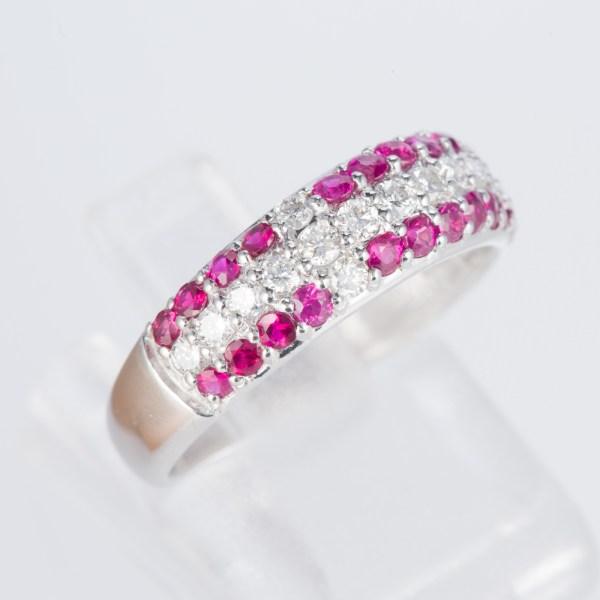 ルビーxダイヤモンド ホワイトゴールドリング R: 0.61 ct D: 0.34ct K18WG