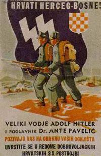 """Werbeplakat """"Kroaten Herceg-Bosnas! Der große Führer Adolf Hitler und der Poglavnik Dr. Ante Paveli rufen euch zur Verteidigung eurer Heimatorte. Tretet ein in die Reihen der freiwilligen kroatischen SS-Verbände"""""""