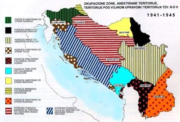 Das Gebiet des späteren Jugoslawien im Zeitraum 1941 bis 1945.