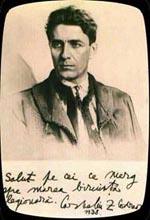"""Corneliu Zelea Codreanu (1899-1938). Bildunterschrift: """"Heil allen, die zum großen Sieg der Legionäre mitmarschieren"""""""