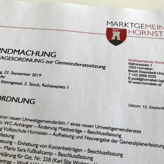 Tagesordnung GR Sitzung 23.09.2019