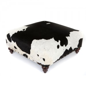 Zulucow Nguni cowhide ottoman footstool white and black aeiral view
