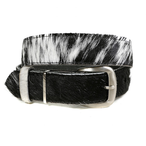 Zulucow Nguni cowhide belt black white grey belt buckle cowhide accessories womenswear fashion